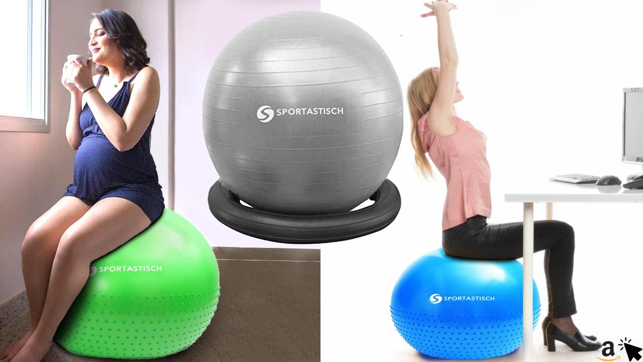 Sportastisch Sitzball Gymnastikball mit Ring, inkl Ballpumpe, bis 250kg Belastbarkeit