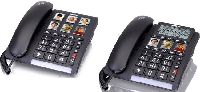 Switel schnurgebundene Grosstastentelefone mit direktwahl Fototasten und Anzeige