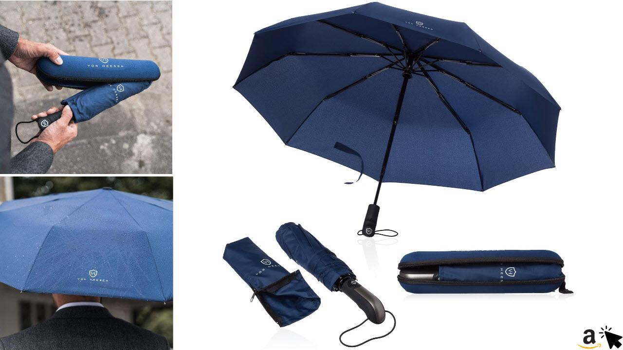 VON HEESEN Taschenschirm Regenschirm sturmfest bis 140 kmh inkl Schirm-Tasche & Reise-Etui, mit Auf-Zu-Automatik, klein, leicht & kompakt, Teflon-Beschichtung, windsicher, stabil
