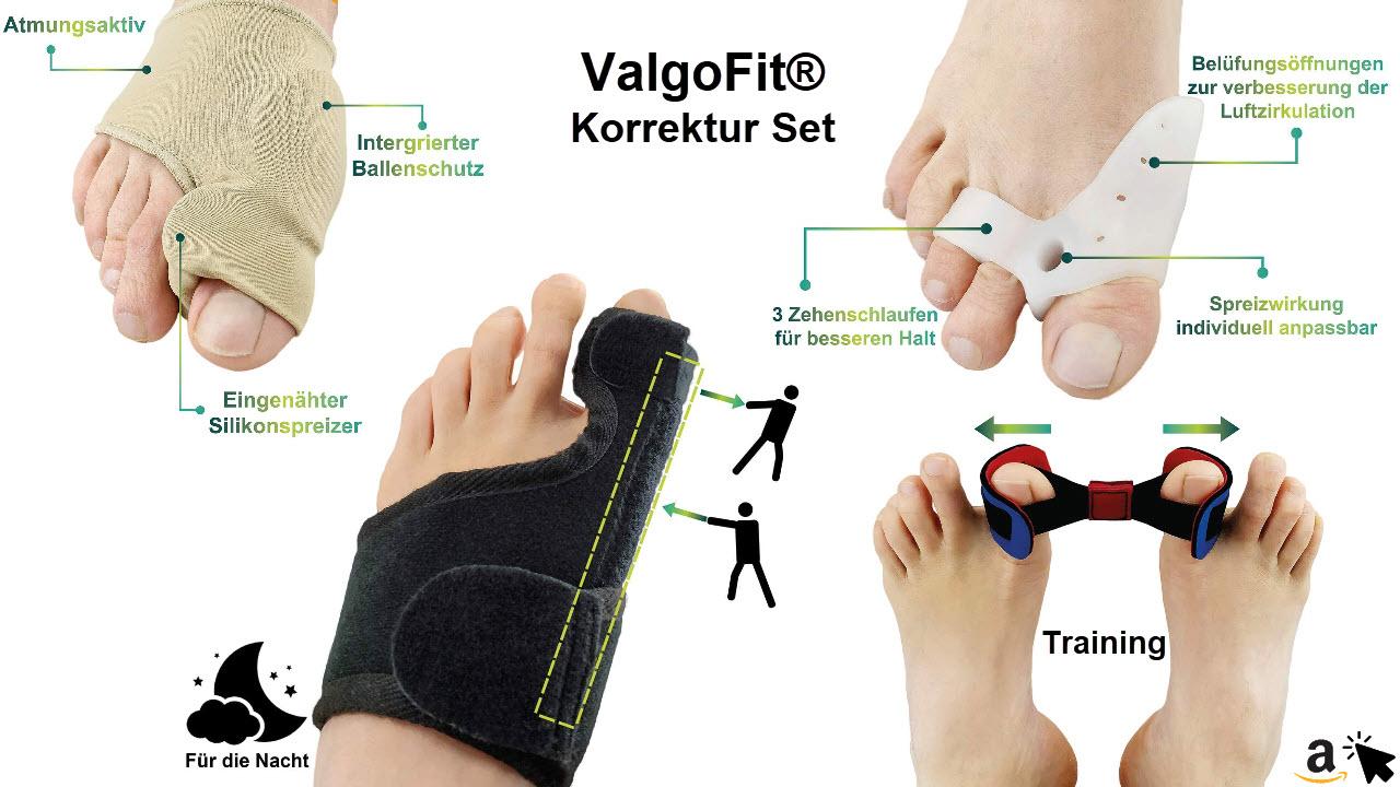 ValgoFit® Hallux Valgus Korrektur Set mit Korrektur Schiene, Bunion-Socken, Zehenspreizer Silikon, Zehentrenner, Fußkorrektur