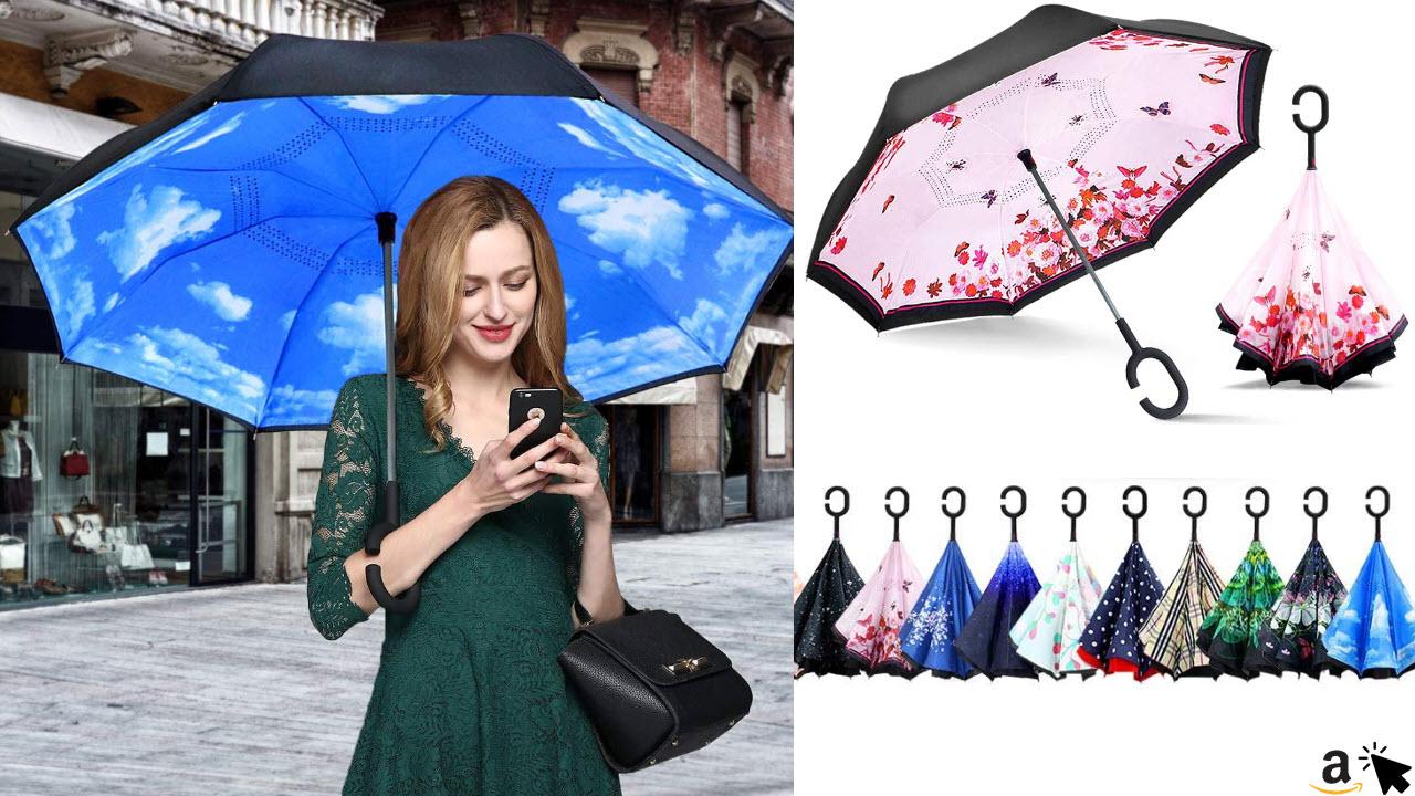 ZOMAKE Umgedrehter Regenschirm mit Handfrei C Griff Stockschirm, Beidseitiger Schirm zweifarbig bedruckt, Winddicht, hands free, für Auto Outdoor