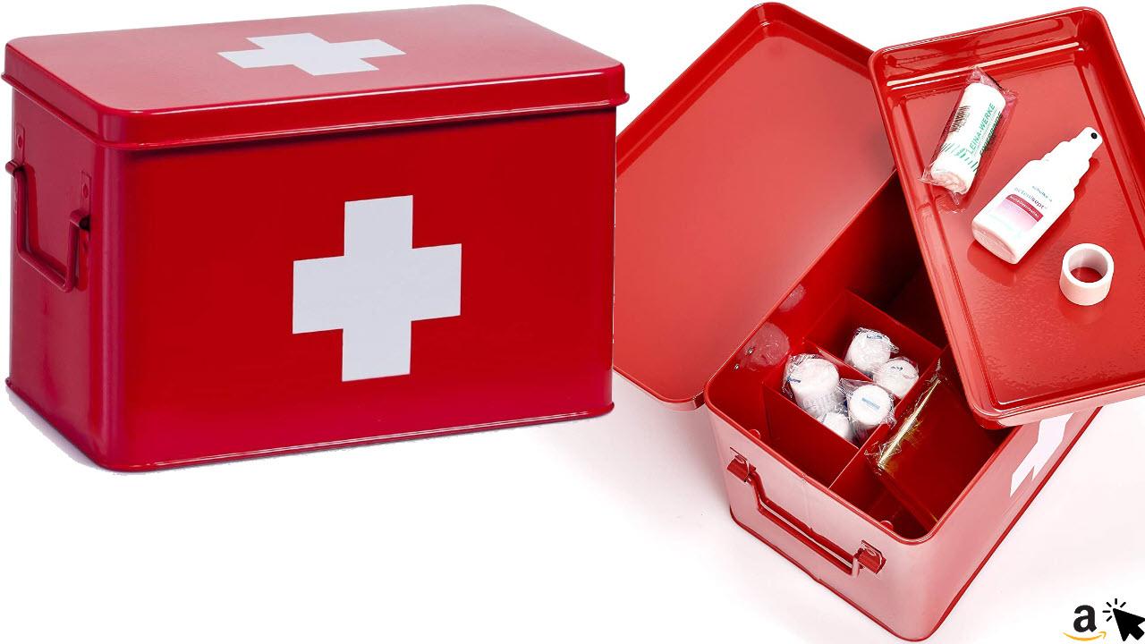 Zeller 18116 Hausapotheke Medizin-Box, Metall, rot, ca. 32 x 19,5 x 20 cm