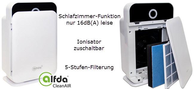 alfda HEPA-Luftreiniger mit Ionisator HIMOP-Filter