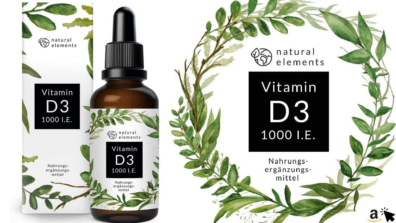 natural elements Vitamin D3, Laborgeprüfte 1000 I.E. pro Tropfen, 50ml entspricht 1750 Tropfen, in MCT-Öl aus Kokos, Hochdosiert, flüssig