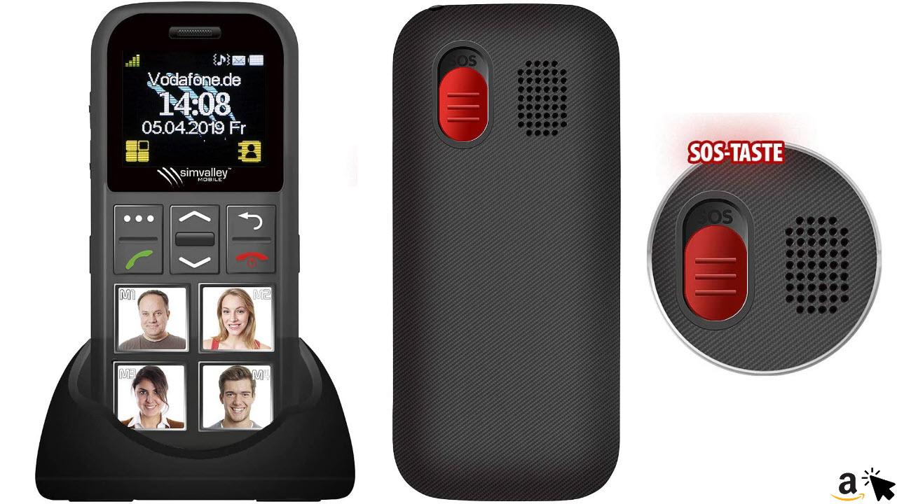 simvalley MOBILE Seniorenhandy, Senioren-Handy, Garantruf Premium, GPS-Ortung, 4 Kurzwahl Fototasten